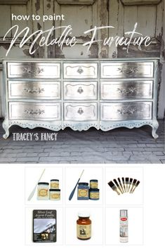 How to Silver Leaf Furniture – DIY Furniture Finish Gorgeous & Glam Silver Metallic Dresser ! Diy Garden Furniture, My Furniture, Repurposed Furniture, Furniture Projects, Unique Furniture, Furniture Design, Furniture Stores, Rustic Furniture, Furniture Dolly