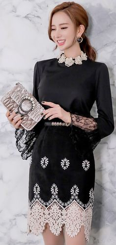 StyleOnme_Lace Hem Suede Pencil Skirt #black #lace #elegant #koreanfashion #kstyle #kfashion #chic #seoul #falltrend