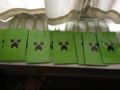 Minecraft Loot Bags ( bought the bags at Five Below, just used a black sharpie and a stencil I printed to make the faces)