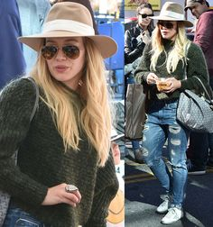 Hilary Duff in a knit sweater and distressed jeans