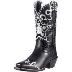 8bd0a6216b28 10011885 Ariat Womens Camarillo Cowboy Boots - Black Deertan   Silver Star  NEW
