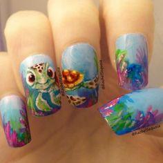 Nemo Surfer Turtle Nails