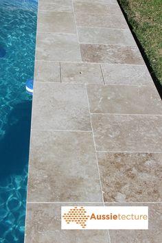 Tumbled Travertine for swimming pool flooring
