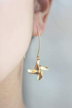 Pinwheel Playtime French hook earrings in gold or by onceuponaCHO, $28.00