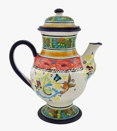 Mexican Talavera pottery - Coffee Jug - Rainforest sunset