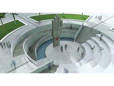 F9-EsculturaCristiana(Anfiteatro3) Conceptual Architecture, Architecture Concept Drawings, Cultural Architecture, Landscape Architecture Design, Interior Architecture, Landscape Elements, Landscape Concept, Amphitheater Architecture, Design D'espace Public