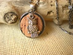 Wine Cork Necklace: Owl Jewelry - Unique Jewelry - Wine Lover - Wine Stained - Cork Jewelry. $20.00, via Etsy.
