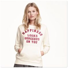 🆕 H&M Happiness sweater top H&M Happiness sweatshirt top. Kangaroo pockets in front. Size M. Brand new with tags. 🌺 PRICE IS FIRM! H&M Tops