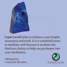 Lapis Lazuli helps to enhance your insight, awareness and truth. It is a wonderful stone to meditate with because it awakens the third eye chakra. #lapislazuli #crystals #healing