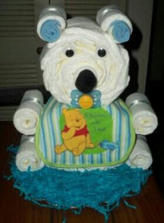 My Teddy bear diaper cake. My first time making it. For more of my creations visited me on fb Shasha's Creations