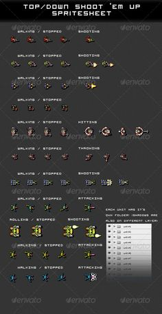 Top/Down Shoot 'Em Up Spritesheet #GraphicRiver Spritesheet of characters for top/down view shoot 'em up game. I leave it to you to decide which one is the good guy and who are the baddies . Some of the frames have been blurred a bit for watermark, obviously this is removed in the purchased .psd & .png files. Unit shadows are in different layer so they are easily removed. Each character has it's own folder and layered with separate shadows in .psd. Item contains 11 characters, all have…