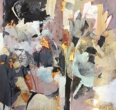 The Laughing Garden-Abstract Botanical by Joan Fullerton Mixed Media ~ 22 x 22