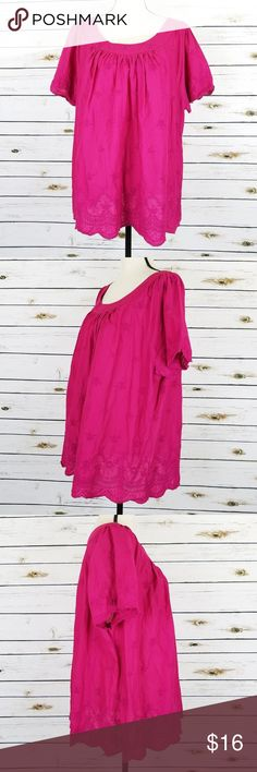 St Johns Bay Fuchsia Pink Peasant Top 3X Cotton St Johns Bay top size 3X. Dark pink with floral embroidery and lace. Short sleeve, 100% Cotton. Gentle Wear, no holes, no stains  Measurements: Bust: 56 Hips/Bottom Opening: 58 Length: 25 top of shoulder to bottom St. John's Bay Tops Blouses