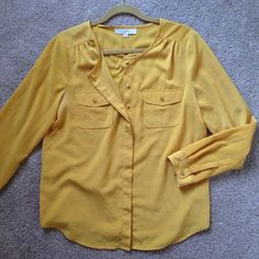 LOFT Top The color is a deeper yellow than the picture shows. Very cute and comfortable- buttons all the way down the front. Shoulder detail is very flattering. LOFT Tops Blouses