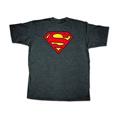Superman Logo Mens Gray T-Shirt