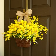 Items similar to spring wreath for front door wreaths cherry blossom wreaths for front door wreaths wall decorations yellow spring wreaths on Etsy – Spring Wreath İdeas. Forsythia Wreath, Tulip Wreath, Spring Front Door Wreaths, Spring Wreaths, Yellow Springs, Front Door Decor, Summer Wreath, Flower Arrangements, Wreath Burlap