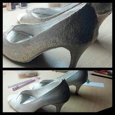 DIY Glitter shoes.  This was my favourite pair of white peep-toes that I had been using since the past three years. I just could not throw them away. So.. tadaa.. I changed their look !