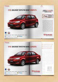 Para a divulgação do Etios, a novidade da concessionária Kurumá, optamos pela criação de um anúncio interativo. Ao ser dobrada, a peça em página dupla revela o aspecto do Toyota Etios que faz toda a diferença entre os compactos do mercado.
