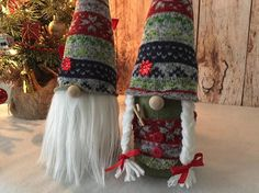 Set of 2 Stuffed Nordic Christmas gnome, tomte, Nisse, hoiday decoration, gift or for you. **** This listing is for 2 Gnomes!!! **** Add some mystical enchantment to your home this holiday season with this charming gnome. Gnomes are best known for guarding Earthly treasures and are