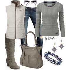 """Gray & White Fall Outfit"" by lindakol on Polyvore"