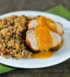Emily Bites - Weight Watchers Friendly Recipes: Roasted Pork Tenderloin with Ginger Peach Sauce (and a giveaway!)