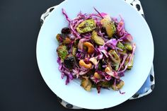 Roasted Brussels Sprouts with Red Cabbage & Nuts