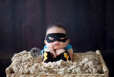 Yes, please!!! Captain Baby/ Baby Boy Super Hero Newborn Prop Set/ Blue/ Cape, Mask, Wristlets/ Custom Made to Order/ Photo Prop. $35.00, via Etsy.
