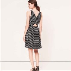 Summer dress! Black and white stripped cutout back dress! Great for the summer. LOFT Dresses