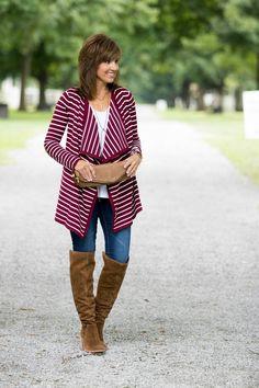 Fashion Friday-Striped Cardigan - Grace & Beauty