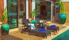 Rawai VIP Villas with Kids Park and Spa — family resort in Phuket. Private pool villa with 2 bedrooms locates within 300 meters form Rawai Beachfront. Resort Villa, Deck Chairs, Phuket Thailand, Outdoor Furniture Sets, Outdoor Decor, Private Pool, Luxury Villa, Living Room, Bedroom