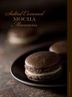Salted Caramel Mocha Macarons - Chocolate espresso-flavored meringue shells with a caramel buttercream and coarse salt filling. TheSpiceTrain.com.