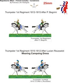 Napoleonic Wars - French Cavalry - Carbiners 1st Regiment - TROMPET 1810 -1815 Paper Figure 25mm to Wargamers