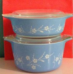 Vintage 2 Pyrex Casserole Bowl Blue White Flowers Dianthus RARE Pint Quart | eBay