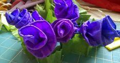 Potrzebujemy jeden kolor bibuły i nitkę Odcinamy 10 cm z całej długości bibuły Zawijamy, rolujemy między palcami brze... Rose, Flowers, Plants, Stitching, Embroidery, Palenque, Costura, Pink, Needlepoint