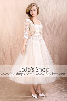 Retro 50s 60s Tea Length Lace Tulle Formal Wedding Dress