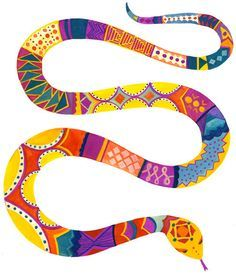 A rainbow god of the Songhai people. He took the form of a multicoloured serpent. Sometimes referred to as Sajara Rainbow Snake, Rainbow Serpent, Animal Crafts For Kids, Art For Kids, Snake Painting, Colorful Snakes, Aboriginal Artwork, Year Of The Snake, Snake Art