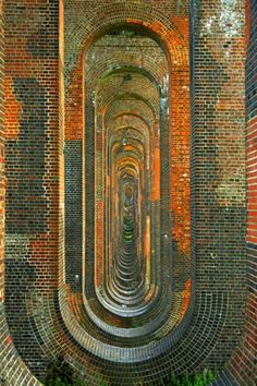 Ouse Valley Viaduct, Balcombe.  Taken from under the supporting arches, the tallest is 97 ft high, the viaduct carries the London to Brighton line and is a marvellous example of Victorian engineering.