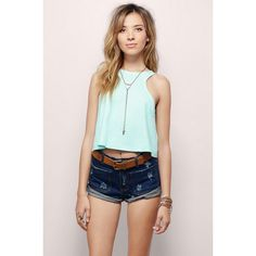 Tobi Cristabel Crop Top (140 HKD) ❤ liked on Polyvore featuring tops, mint, heart tops, mint top, heart crop top, racer back tops and mint crop top