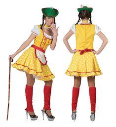 Gelbes Tirolerin-Kostüm für Frauen: Diese Tiroler Tracht besteht aus einem Kleid, einer Schürze und einem Halsreif (Spazierstock, Hut, Strümpfe und Schuhe sind nicht mit inbegriffen).Das Kleid ist gelb, kurz und tailliert...