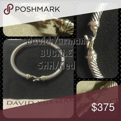 David yurman, classic buckle cable bracelet Sterling silver with pave diamonds, size medium, like new condition & comes with original dust pouch David Yurman Jewelry Bracelets