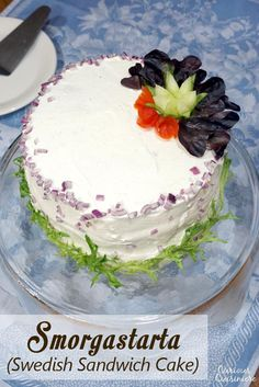 A Swedish Sandwich Cake is the perfect centerpiece for a spring celebration. Bright, fresh, and fun to prepare, make this recipe for your next picnic! Sandwiches, Sandwich Cake, Sandwich Fillings, Cake Recipes, Dessert Recipes, Desserts, Cream Cheese Spreads, English Food, Round Cakes