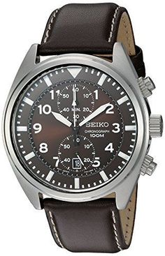 Mens Chronograph Watch Analog Stainless Steel Seiko Leather Band Water Resistant #SeikoChronographWatches