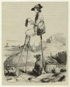 Shepherd resting on stilts, knitting.
