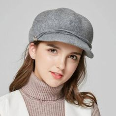 Plain gray newsboy cap for women winter warm wool hat travelling wear