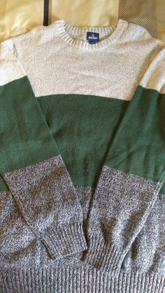 9eff71eabd5 Old Navy Men's Long Sleeve Sweater Beige Green Grey Color Combo Size: XL  #fashion