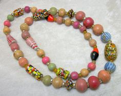 Clay and Glass Beaded Necklace - Vintage 70s Tribal Jewelry