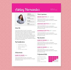 Crisp Pink Resume Cover Letter Pkg By Jannalynncreative On