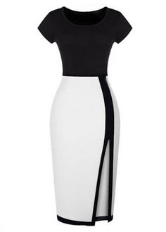 Short Sleeve Black and White Two Tone Dress on sale only US$34.21 now, buy cheap Short Sleeve Black and White Two Tone Dress at modlily.com