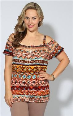 plus size tribal print peasant top with smocked bottom