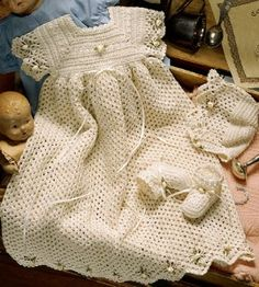 Free Crochet Christening Gown | ... crochet christening set pattern crochet number of projects 3 piece